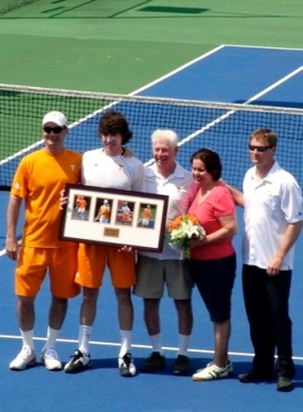 Senior Day UT Tennis JP Smith with his parents Kevin and Susan Smith Coaches Chris Woodruff and  Sam Winterbotham